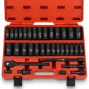 Neiko 02446A 1/2″ Drive Master Impact Socket Set, 35 Piece Deep Socket Assortment | Standard SAE (Inch) and Metric Sizes | Includes Ratchet Handle and Extension Bars | Cr-V Steel